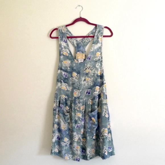 Festival Batik Floral Print Overall Jumper Dress